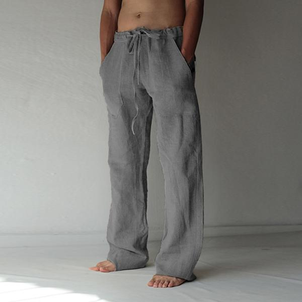 Mens Plus size Hemp Casual Pants