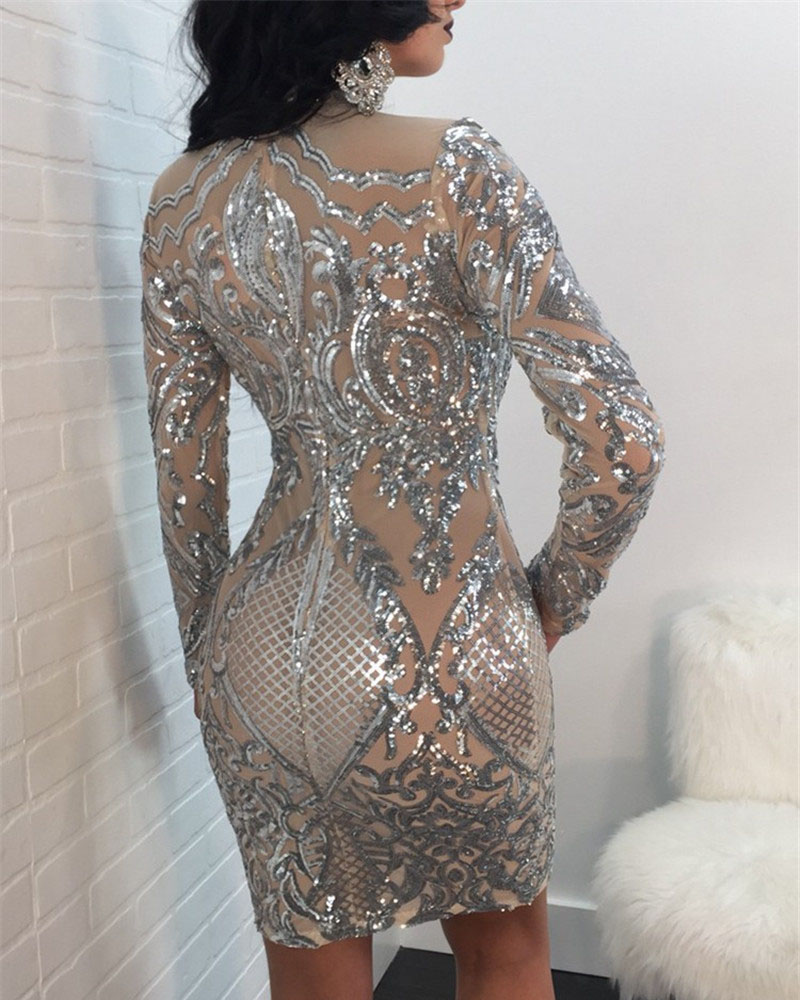 Sexy Sequined Long Sleeve Evening Dress