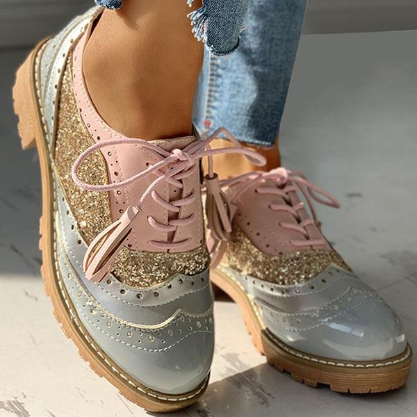 Zoeyootd Lace-Up Sequins Insert Chunky Heeled Boots