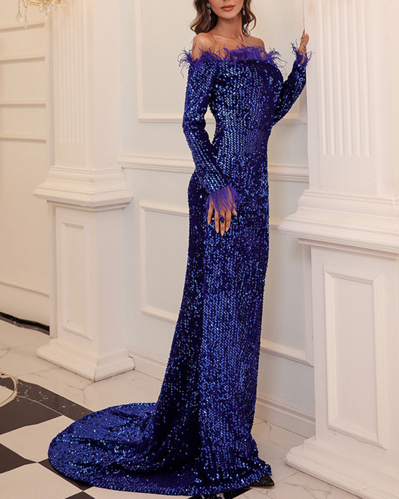Sexy Off-The-Shoulder Sequin Evening Dress