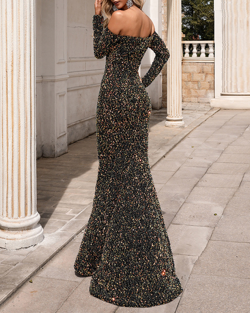 Off-The-Shoulder Sequined Long-Sleeved Maxi Evening Dress