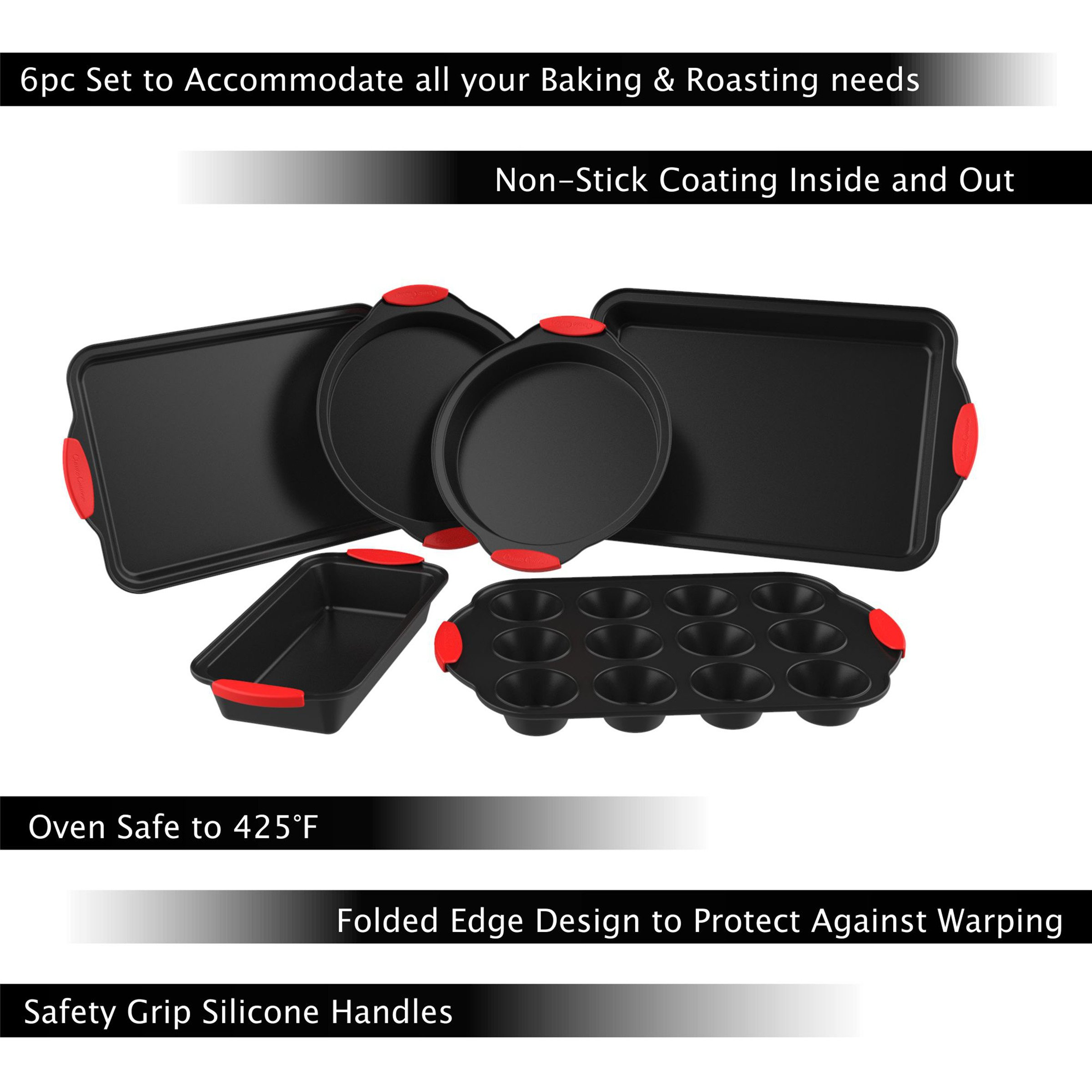 Cake Pans with Silicone Grip Handles--Kitchen Cookware by Classic Cuisine-Bakeware Sets 3.24