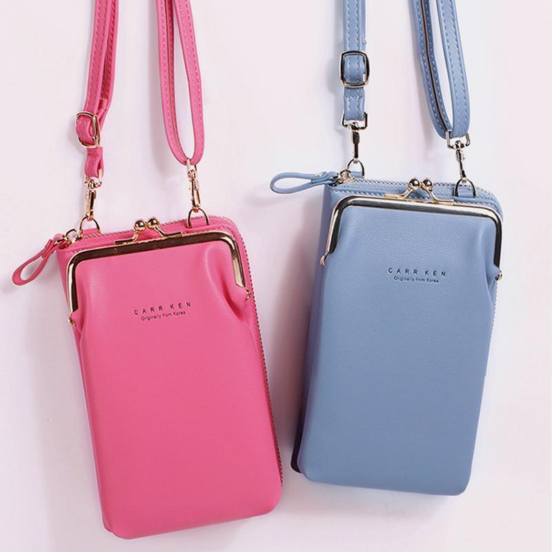 Women 9 Card Slots Phone Bag Solid Crossbody Bag