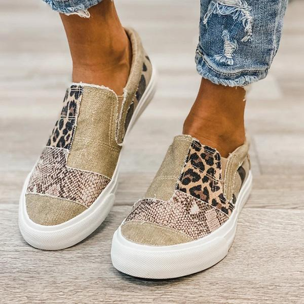 Bonnieshoes Pieced Raw Edge Animal Print Canvas Slip-On Flats