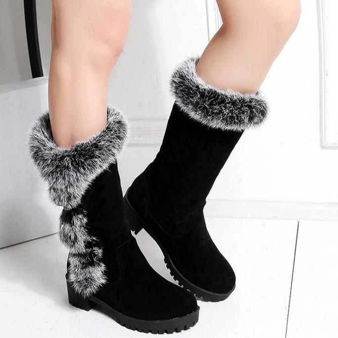 Women Winter Buckle Strap Lining Faux Fur Chunky Heel Snow Boots