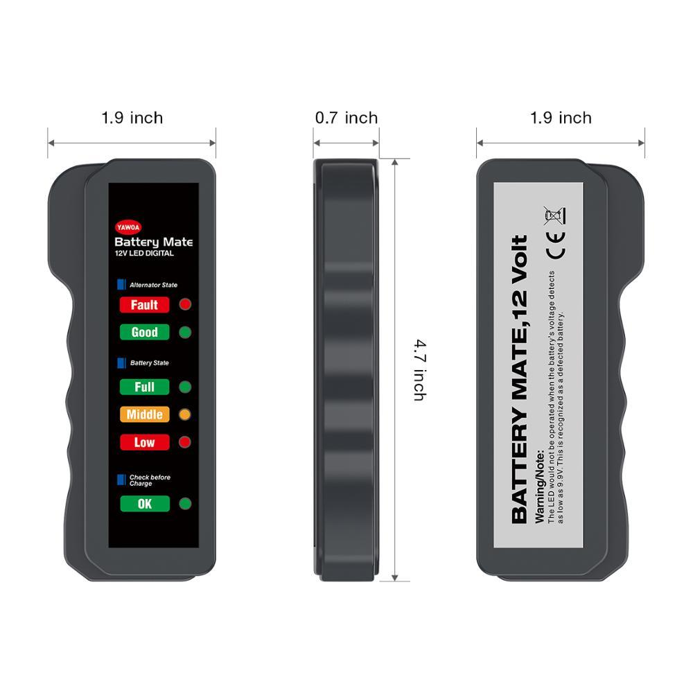 Vehicle Battery Tester Charger Alternator Cranking Check with 6-LED Display