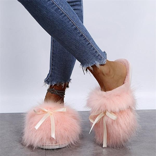 Mokoshoes Fashion Bow Long Wool Warm Cotton Slippers