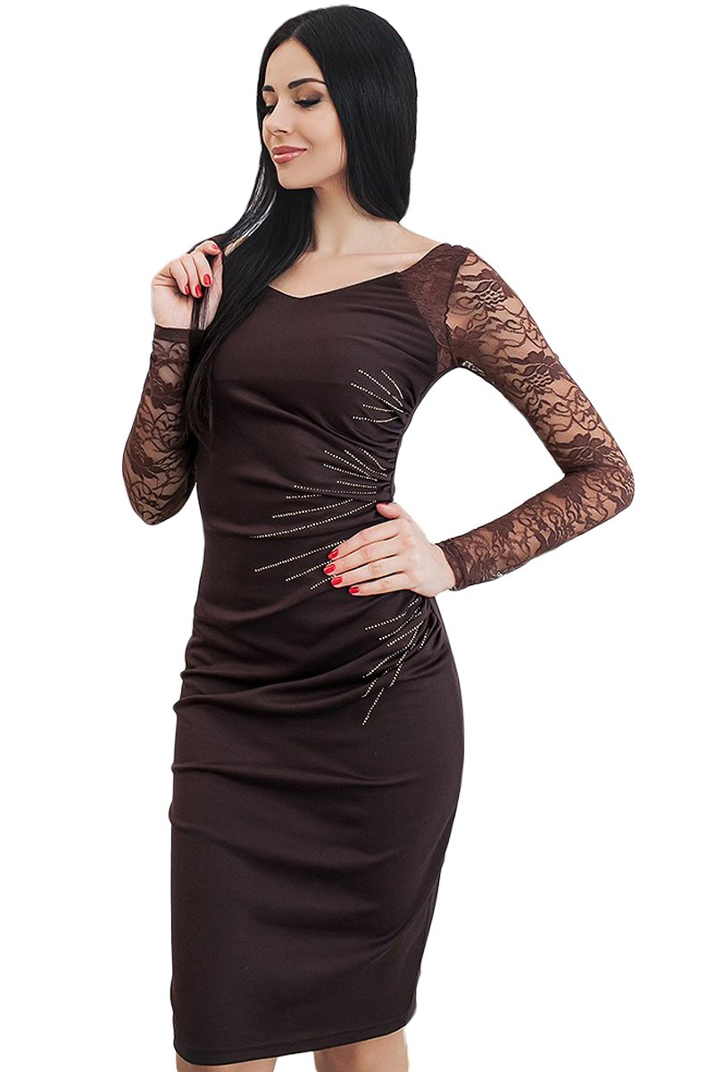 Women Clothing Designers The Best Black Lace Sleeve Embroidery Ruched Sheath Dress