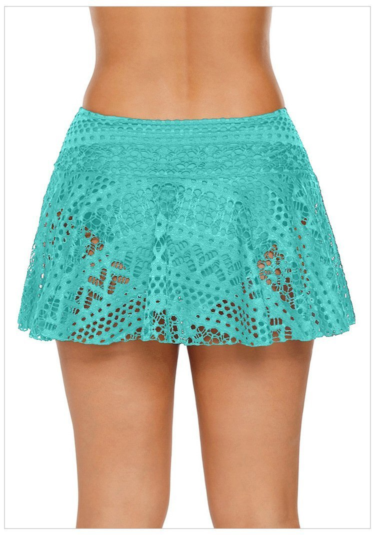 High Waisted Lace Cover Triangle Beach Swim Pants