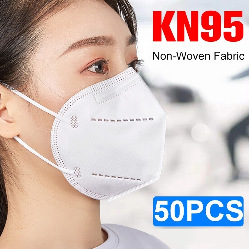 50PCS KN95 Protective Mask 4-layer Filtration Nonwoven Mask Earloop Mouth Face Masks