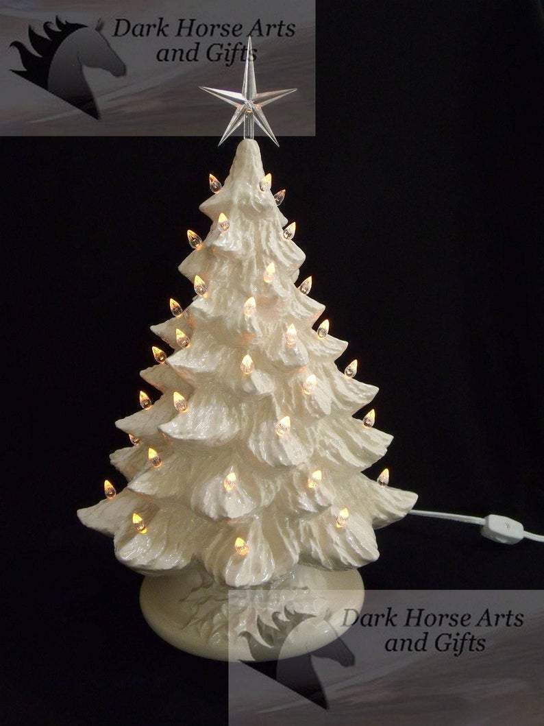 White Christmas Ceramic Christmas Tree 16 Inches