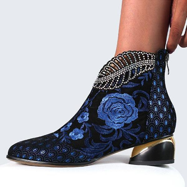 Bonnieshoes Embroidered Point Toe Zipper Mid Heel Boots