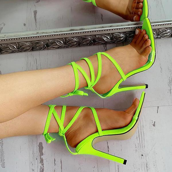 Upawear Transparent Strap Lace-Up Thin Heels