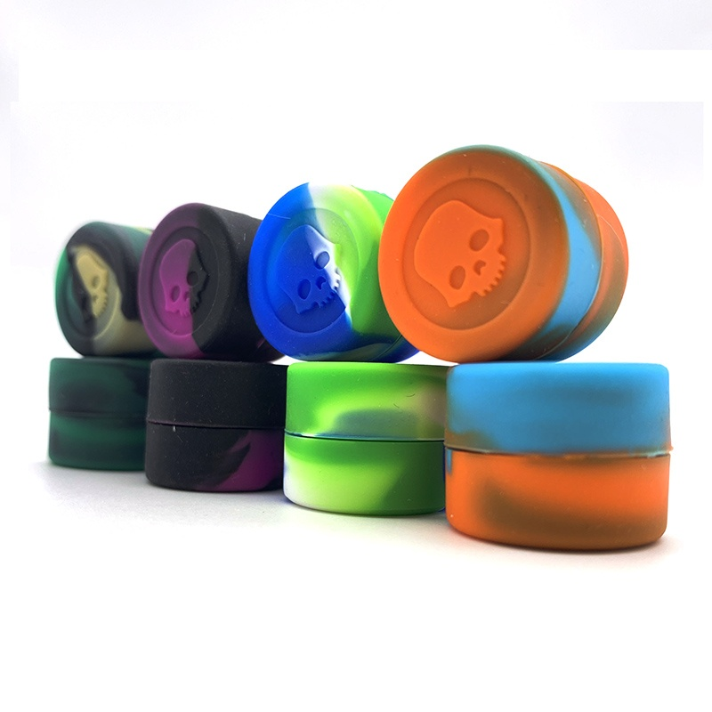 100pcs/lot 2ml silicone container jar boxes skull for wax dab