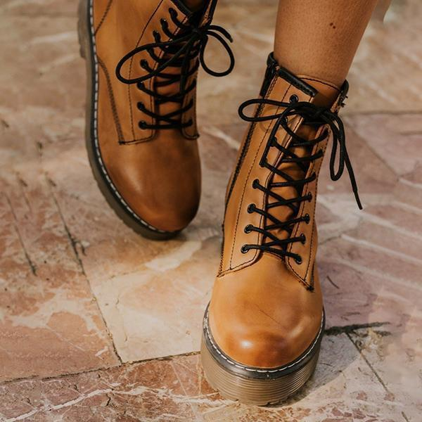 Mokoshoes Daily Outdoor Lace-up Low Heel Boots