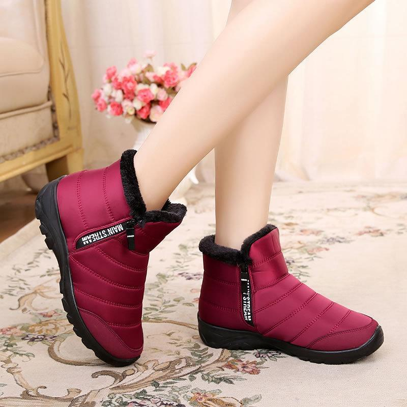 Women Winter Warm Fur Lining Waterproof Outdoor Non-Slip Snow Booties