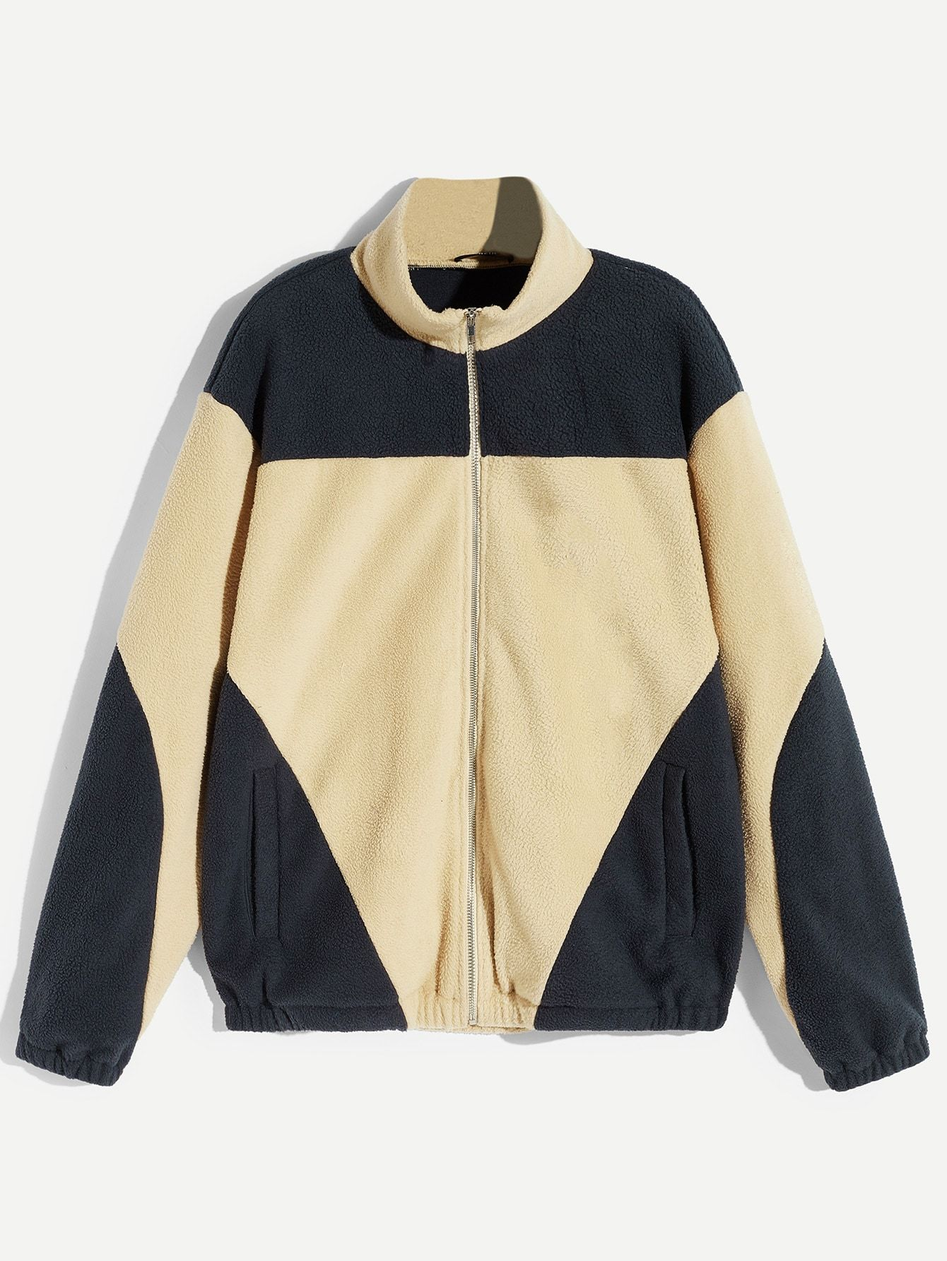Men Zip Up Color-block Teddy Jacket