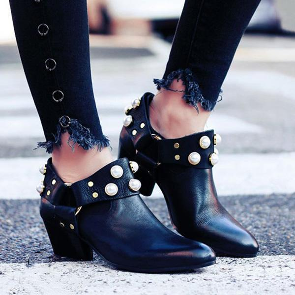 Mokoshoes Pearl Pointed Toe Ankle Boties Slip-On Women Boots