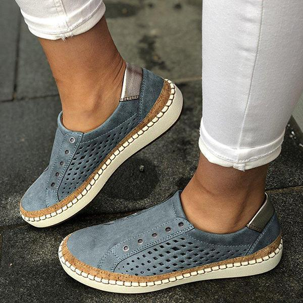 Mokoshoes Women Casual Summer Slip On Hollow-Out Sneakers