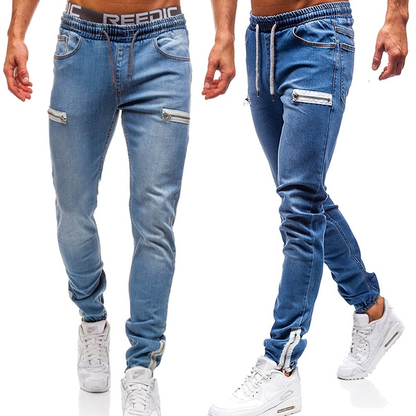 Trendy Men's Casual Pants Slim Fit Jeans Personality Drawstring Stretch Waist Zipper Trousers