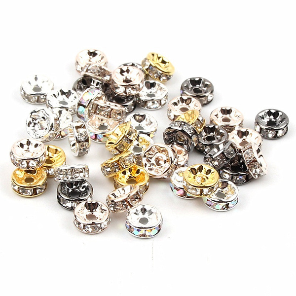 50pcs Metal Crystal Rhinestone Rondelle Spacer Beads Loose Charm Beads 4/6/8/10mm for Jewelry Making Bracelet Necklace DIY Fashion Accessories
