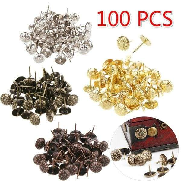 50/100 PCS Vintage Metal Tacks Stud Pushpin Doornail Furniture Hardware Upholstery Nails Wine Case Protector