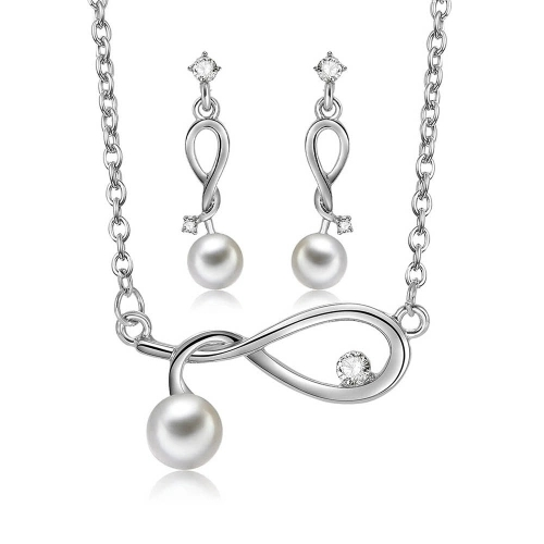 Fashion Alloy Jewelry Set Embedded Diamond Twisted Necklace Earrings Women Clothes Accessory