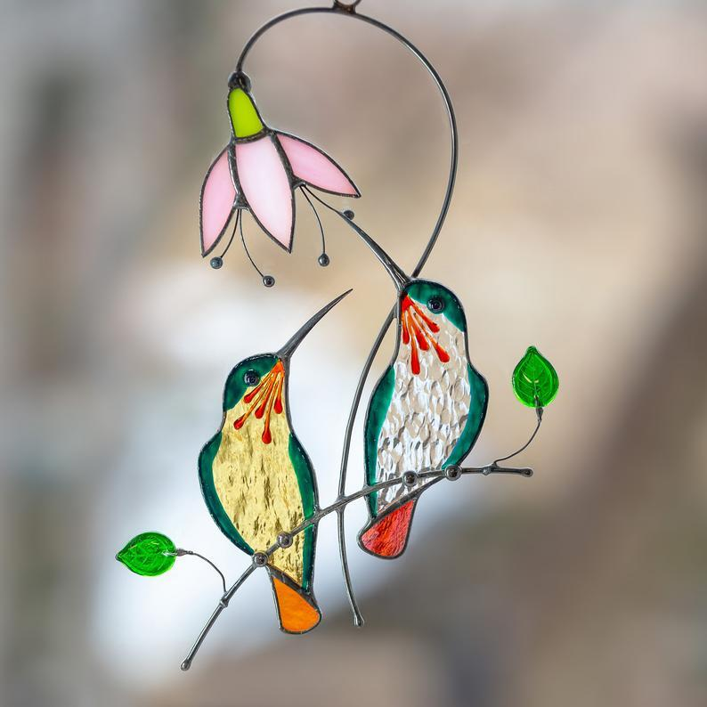 🐦Stained glass hummingbird Modern stained glass window hangings decor🐦