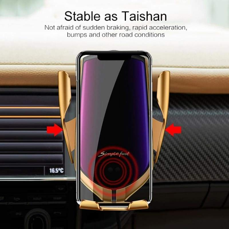 FDGAO Qi Wireless Charging Automatic Clamping Car Charger Mount Air Vent Phone Holder Stand Charger Fast 10W for Iphone 11 Pro X Xs Max Xr 8plus 8 Samsung Galaxy S10 S9 S8 S7 Note 10 9 8 Huawei P20 P30 Pro