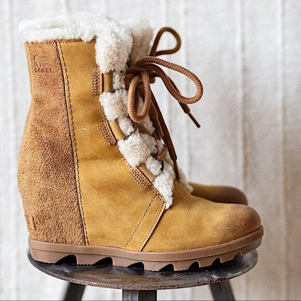 Bonnieshoes Women Lace-Up Inner High Warmth Short Boots