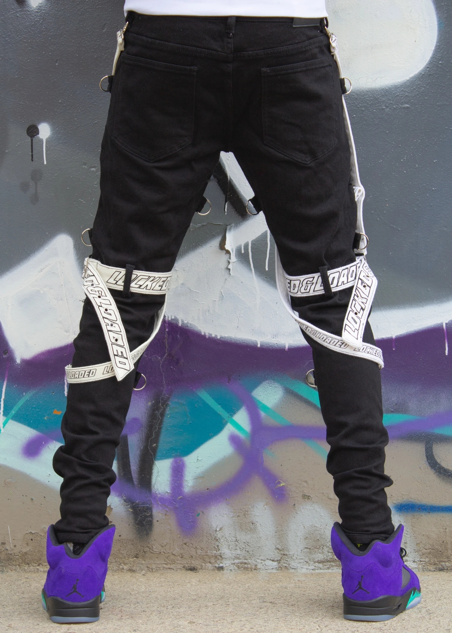 Locked and loaded jeans-belt and stone-black and white