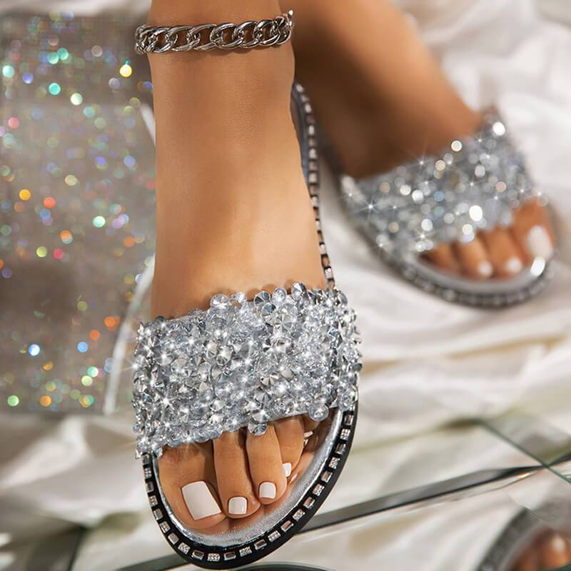 Women Fashion Sequins Rhinestone Slip On Flat Slippers