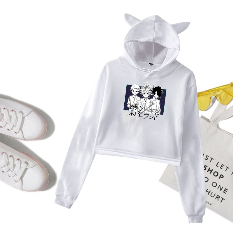 Anime The Promised Neverland Printed  Cropped Hoodies