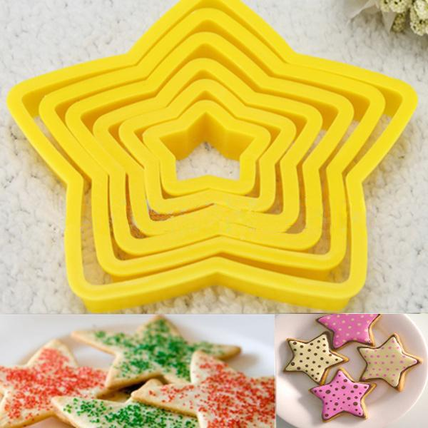 (🎄Early Christmas Sale🎄- Save 40% OFF) 6Pcs/Set Plastic Star Cutters Cookie Christmas Tree Baking Cake Mold