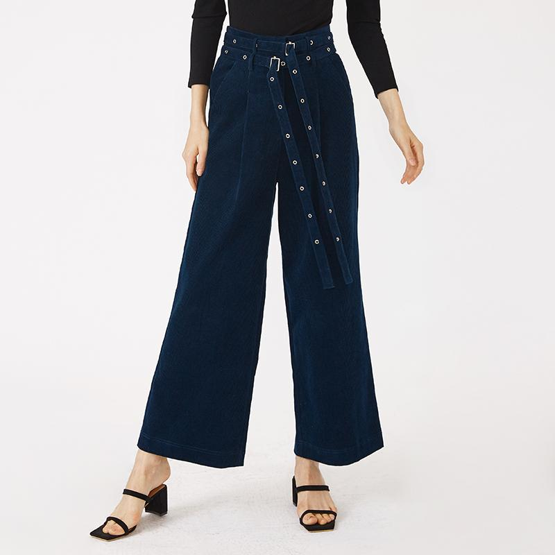 Chic high waist wide leg loose old fashion ankle length navy and red women long pants lady bottom-carrot trousers 2.11