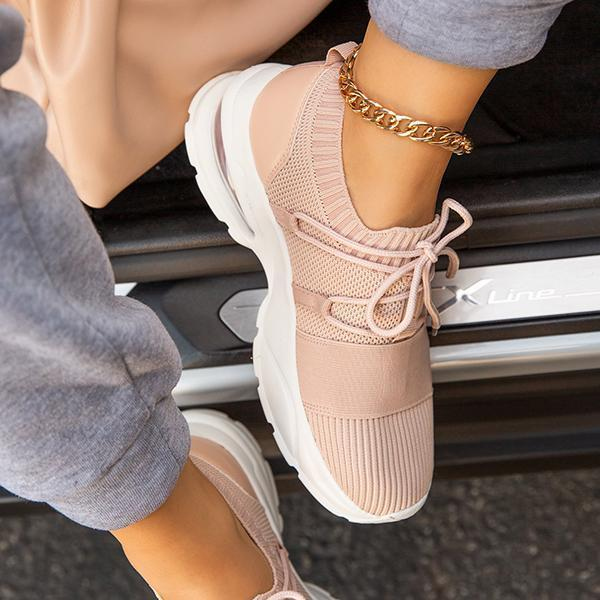 Zoeyootd Mesh breathable Lightly Padded Insole Lace-Up Sneakers