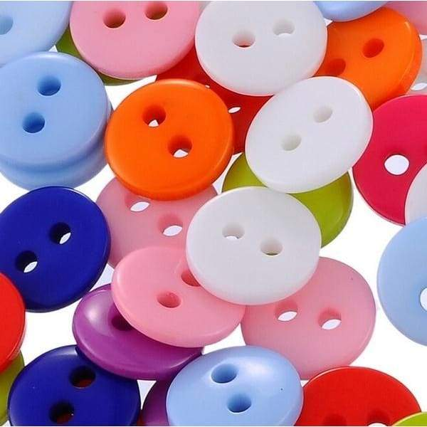 100Pcs 2 Holes Solid Color Round Resin Buttons 15mm Plastic Sewing and DIY Handmade Craft Buckle (Color Mixed )