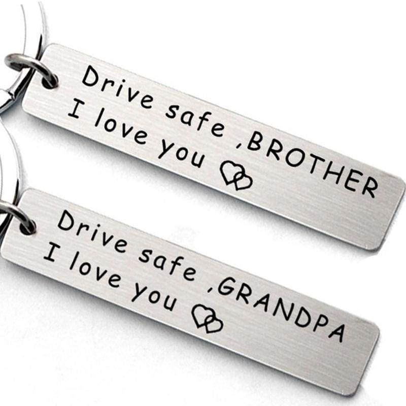 Driving Safety, Family Member Stainless Steel Keychain, Brother and Sister Keychain Gift, Car Keychain Accessories, Grandfather, Grandmother, Dad, Mom