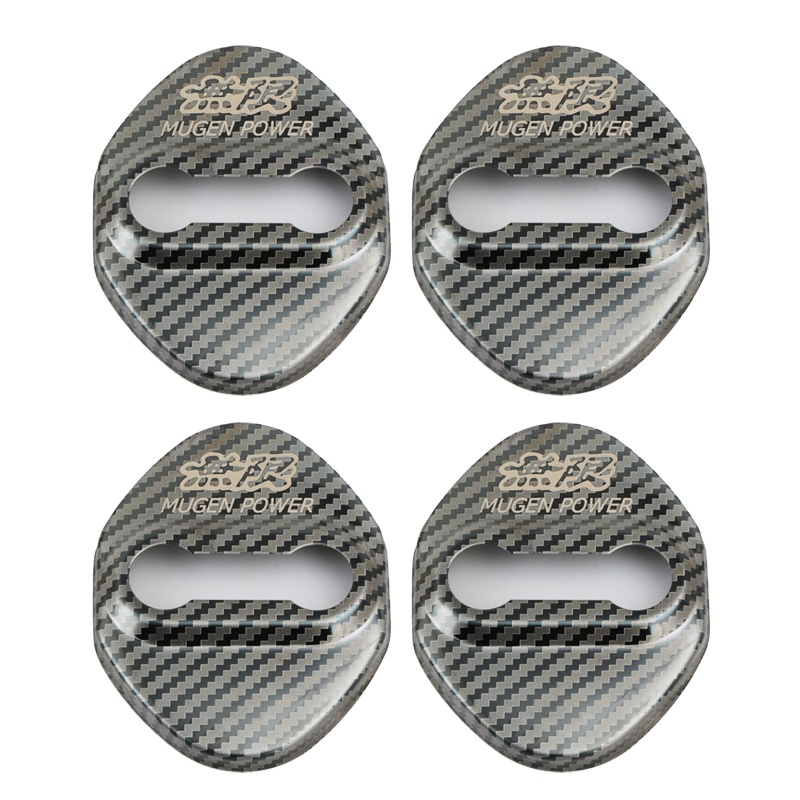 Car Styling Carbon Fiber stainless steel Car Door lock Protector Cover Case for Mugen Power Car Accessories 4pcs pack