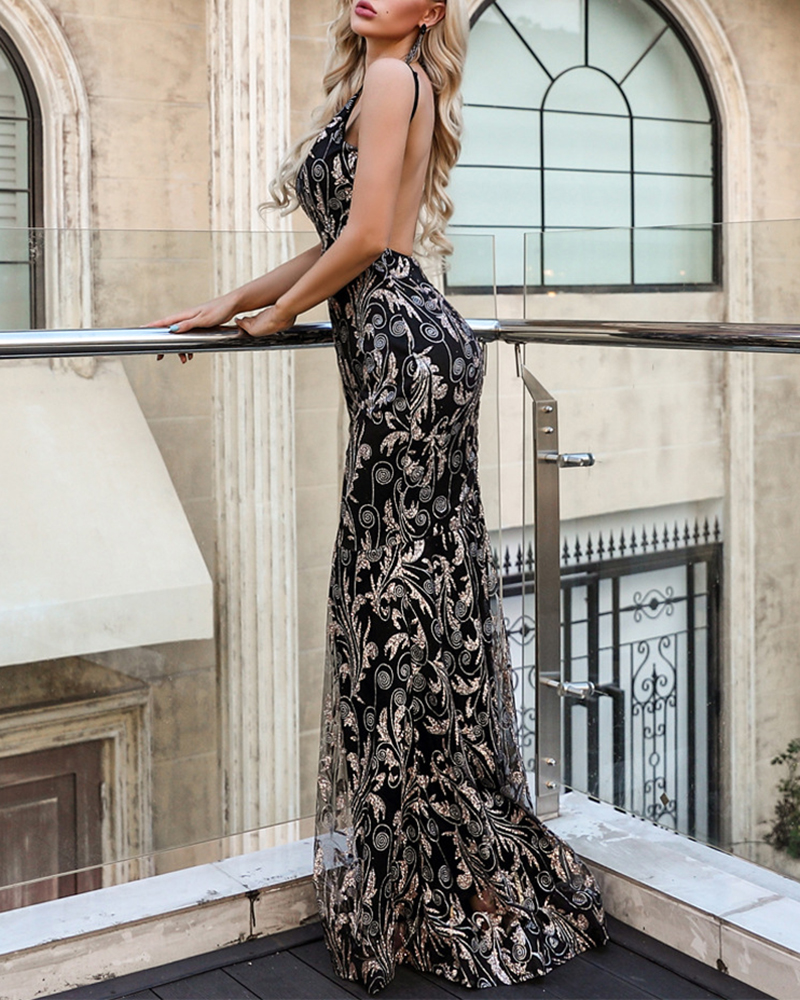 V-Neck Strap Off-The-Shoulder Sequin Evening Dress