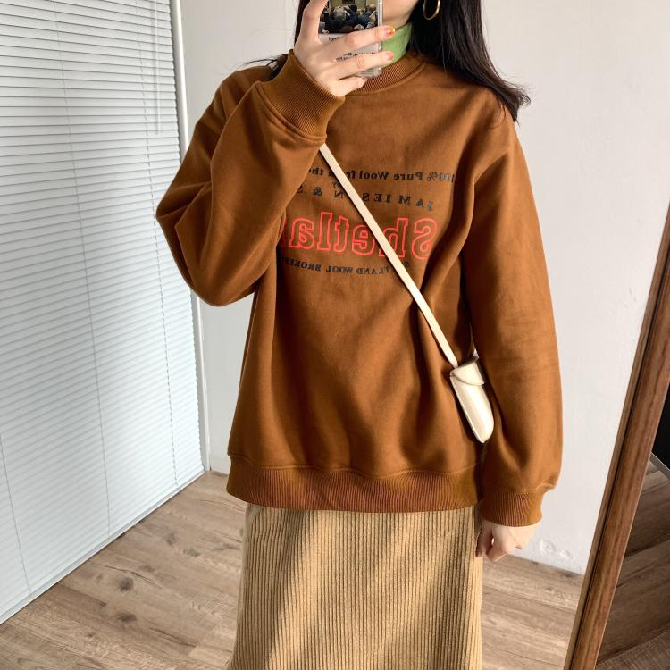 2019 autumn and winter thin velvet letter sweater casual ageing wild plus velvet print loose loose sweater coat