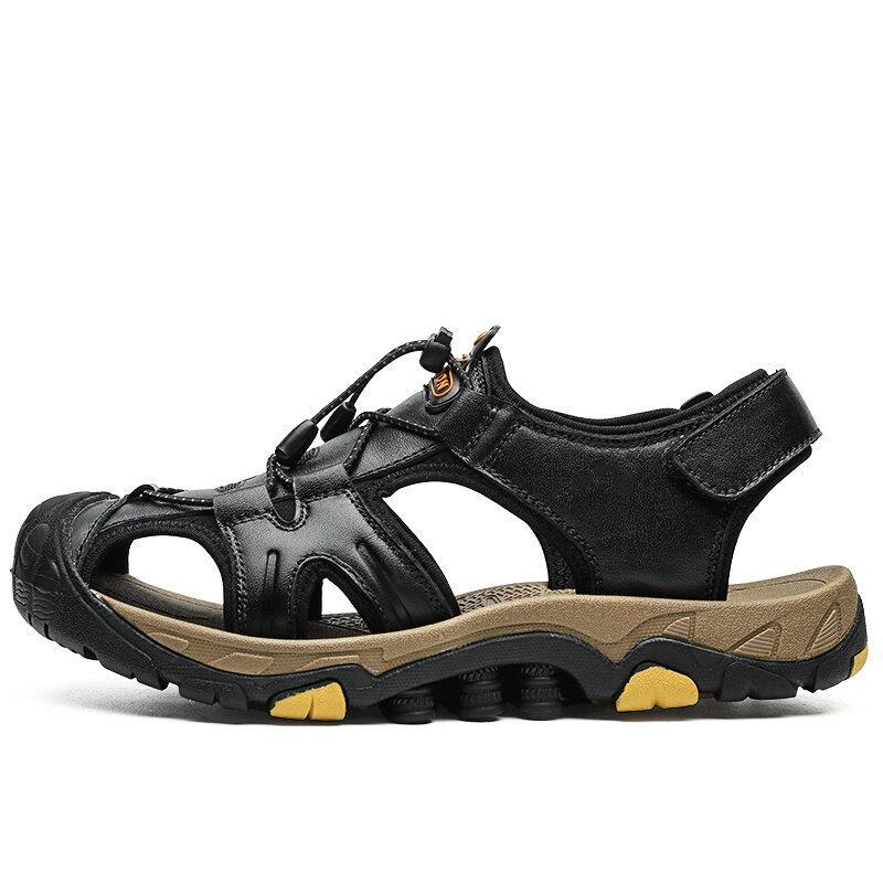 Men's Anti-collision Toe Outdoor Quick Release Hiking Leather Sandals