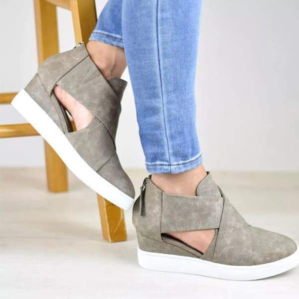 Mokoshoes Criss-cross Cut-out Wedge Sneakers
