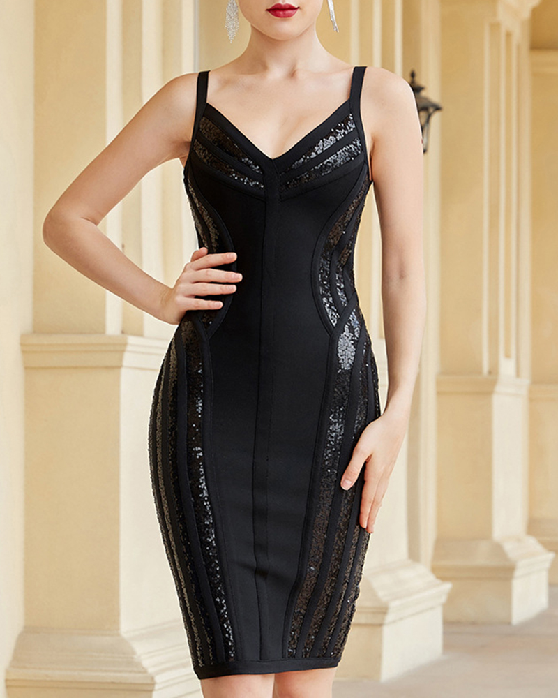 Sexy V-Neck Off-The-Shoulder Sequined Tight Evening Dress