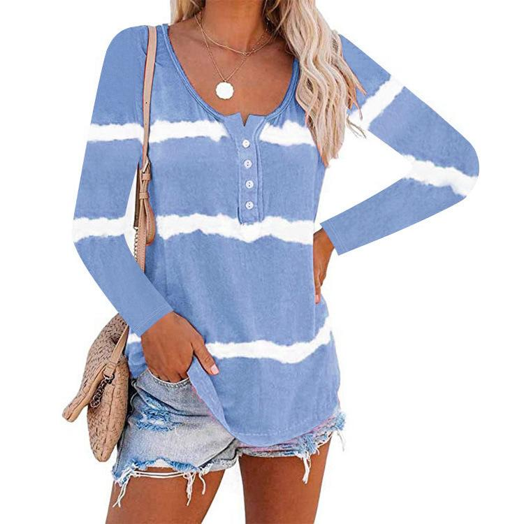 Tie Dye Stripe Long Sleeve Tops
