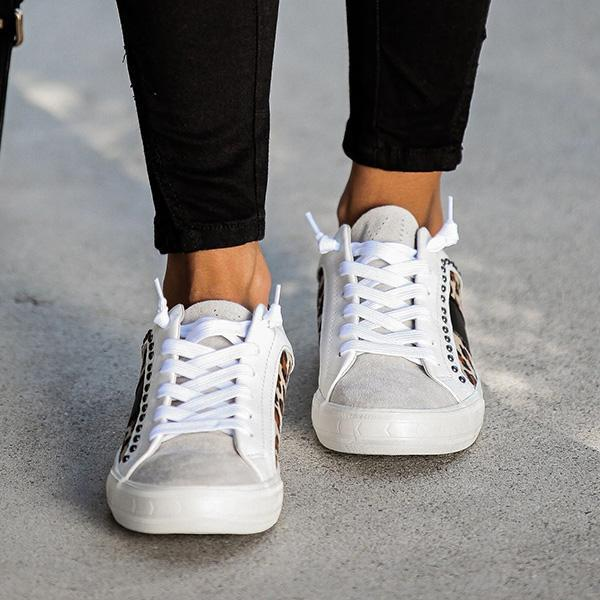 Bonnieshoes Studded Leopard Sneakers