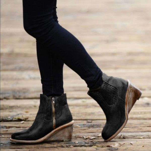 Bonnieshoes Women Vintage Wedge Boots Casual Chic Zipper Boots