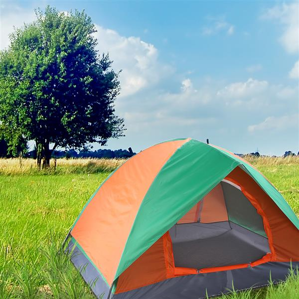 2-Person Double Door Camping Dome Tent Orange & Green [Delivery in 5-10 days]