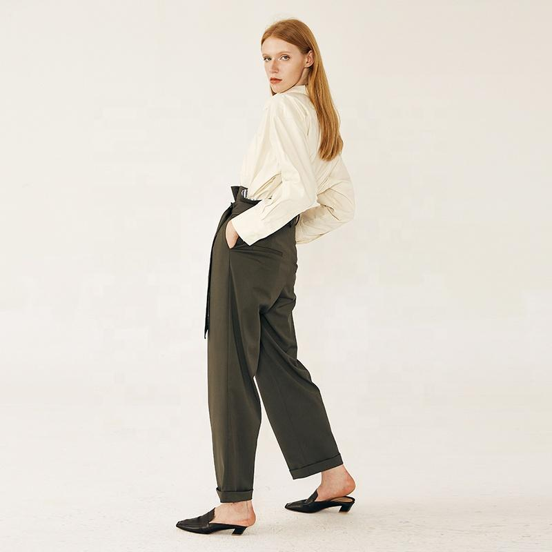 Chic  Womens trousers pants Dark Green pant suit for women formal Straight texture casual women pant-carrot trousers 2.11