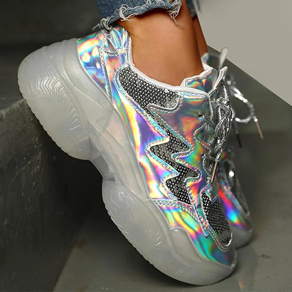 Mokoshoes Laser Sequins Lace-Up Plateform Casual Sneakers